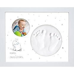 Kit de Marco Para Manos y Huellas de Bebé de Bubbleliss. Seguro y fácil de usar. Un gran regalo de bebé.