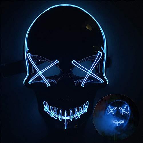 Queta Halloween Maske LED Masken Light EL Beängstigendes Cosplay Maske für Halloween Fasching Karneval Party Halloween Kostüm (Blau)