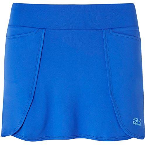 Sportkind Mädchen & Damen Tennis / Hockey / Golf Rock in Wickeloptik mit Taschen & Innenhose, kobaltblau, Gr. 164