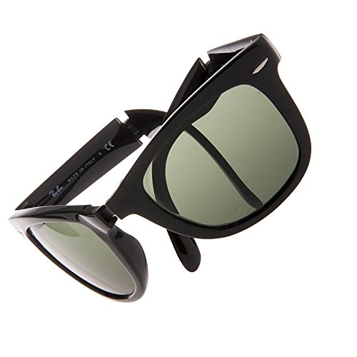 Ray-Ban Unisex Sonnenbrille Folding Wayfarer Gestell: Schwarz, Gläser: Grün Klassisch 601), Large (Herstellergröße: 54)