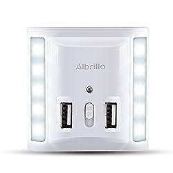 Albrillo LED Nachtlicht mit 2 USB Anschluss und Dämmerungssensor, dimmbar Orientierungslicht in der Nacht mit 3 Lichtmodi als Steckdose