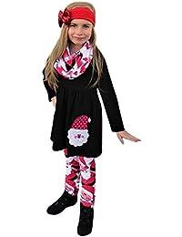 Huhu833 Baby Mädchen Kleidung Weihnachten Weihnachten Kinder Kind Mädchen Baby Kleidung Kleid Tops + Hosen Outfit Set