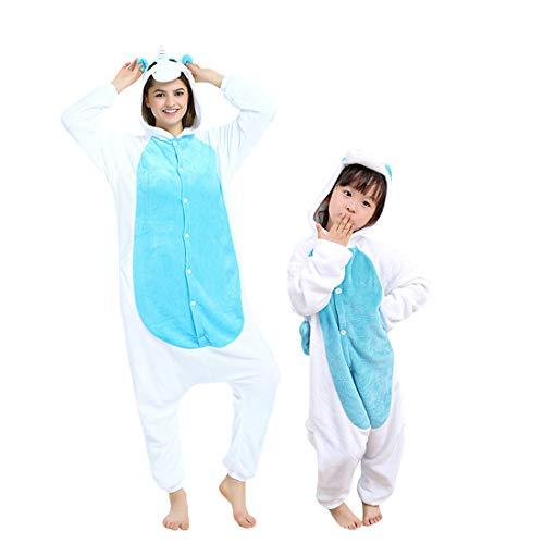 DEBAIJIA Adulto Animale Pigiama Party Regalo di Compleanno Unisex Flanella Sleepwear Cartoon Onesies Unicorn Blu - 135