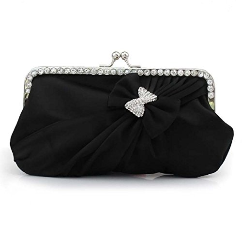 Le Donne Sacchetto Sveglio Di Bowknot Sera Sacchetto Del Partito Sacchetto Del Vestito Da Sposa Black