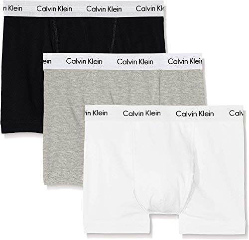 Calvin Klein Herren 3p Low Rise Trunk Boxershorts, (Schwarz/Grey/White) (3-er pack) Gr.M -