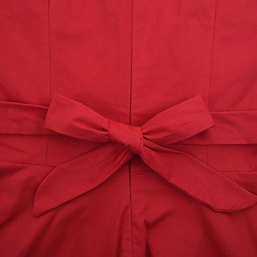 iBaste Damen 50s Retro Vintage Rockabilly Kleid Partykleider Cocktailkleid Swing Rot-Polka dots