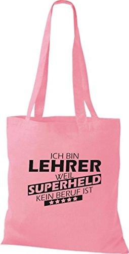 Shirtstown Stoffbeutel Ich bin Lehrer, weil Superheld kein Beruf ist rosa