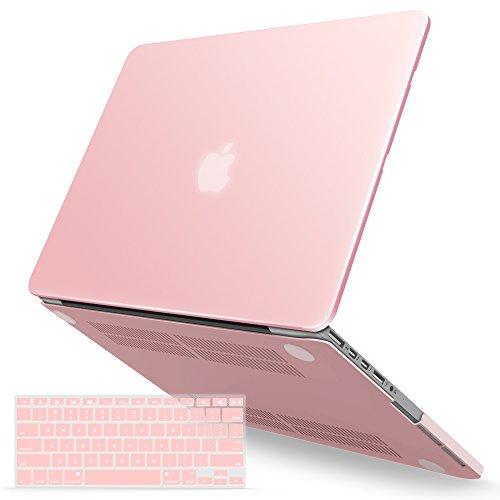 iBenzer MacBook Pro 15 Zoll Hülle Soft Touch Hard Case Hülle Tastatur Cover für MacBook Pro 15 mit Retina Display A1398, Rosenquarz, MMP15R-01RQ + 1