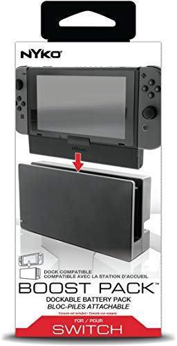 Zusatz-Akku für Switch in/aus dem Ladedock, laden durch offizielles Nintendo-Ladedock oder USB-C-Kabel, Leistung 2500mAh, schwarz (87224 Boost Pack) (Nykos Power Station)