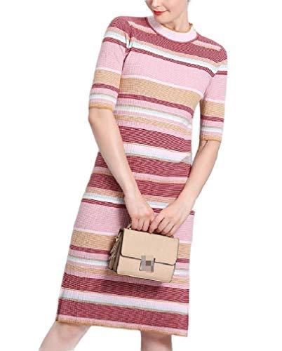 VITryst Women Elegent Three-Quarter Sleeves Stripes Sweater Split Ribbed Knit Dress Pink OS -