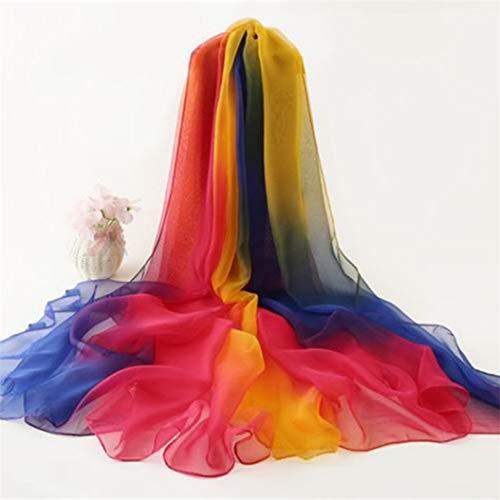 LLZIYAN Gradient Schal Bunte Sonnencreme Schal Strandtuch Leichte Wrap Schals für Frauen, Blau Orange Gradient