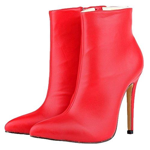 HooH Femmes Bottines Fermeture éclair Bout pointu Talon haut Bottes courtes Rouge