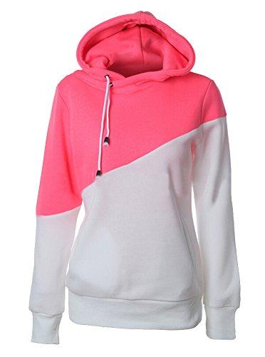SMITHROAD Damen Sommer Herbst Sweatshirt mit Kapuze und Kordelzug Kapuzenpullover Hoodie Kontrastfarbig Gr.34-42 Pink Und Weiß