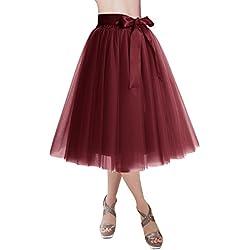 Dresstells®Falda Corta Tul Mujer Midi Cintura Elástica con Lazo para Fiesta Danza Burgundy