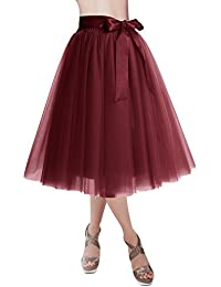 Dresstells reg Falda Corta Tul Mujer Midi Cintura Elástica con Lazo para  Fiesta Danza 0379861233e4