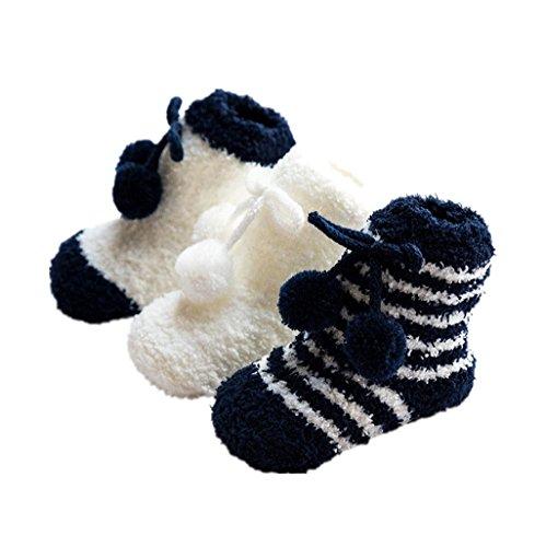 Baby-Bodysocken,Auxma Kinder Baby Mädchen Jungen Frühling Winter Anti-Rutsch-Schritt Boden Socken Korallen Fleece Socken Kleinkind Stiefel Hausschuhe Slipper Schuhe für 0-36 Monate (S/0-12 M, Marine)