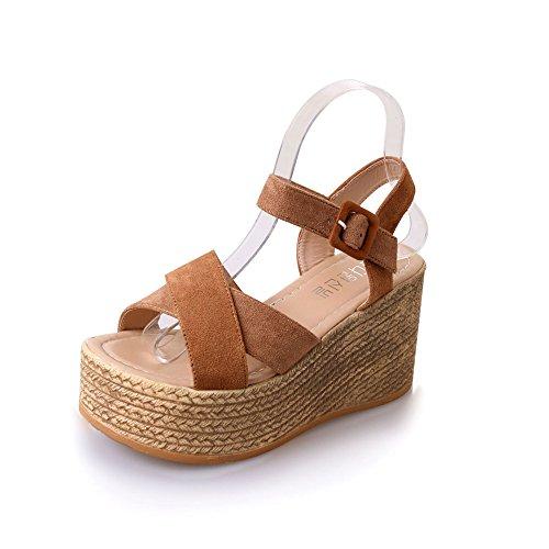 Sandali Donna con Zeppa Estive Elegant Scarpe Tacco Alto Open Toe Caviglia Scarpe Scamosciato Infradito Nero Cachi Verde 35-40 YL39