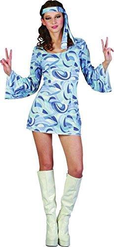 Damen Kleid Kostüm Party 60er Jahre 70er Jahre Flower-power Hippie Mädchen Kostüm Outfit (70er Jahre Hippie Mädchen Kostüm)