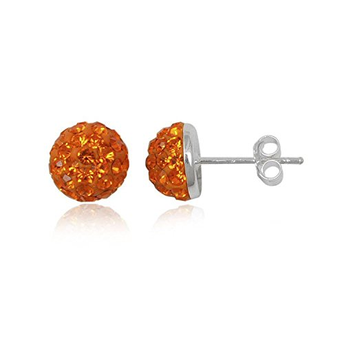 Designer inspirations boutique ® - orecchini a perno a semi-sfera, con brillantini, in argento sterling, 27 colori disponibili, 8 mm, argento, colore: arancione sole, cod. 8mm-unp4398bta-dbhball-os