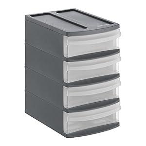 Rotho Systemix Schubladenbox mit 4 Schüben, Kunststoff (PP) BPA-frei, anthrazit/transparent, XS/A6 (19,6 x 14,1 x 23,3…