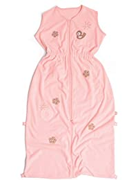 Baby Boum 1.0 Tog 9-36m Sleeping Bag in Soft Terrry Cotton Mix in Cute Bird Design - Pink