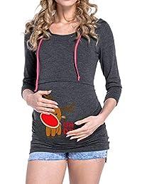 Sudaderas Lactancia con Capucha Casual Ropa premamá Blusa de Maternidad Mujer Manga Larga Top Embarazadas Estampado Alces de Navidad Otoño Invierno Gusspower