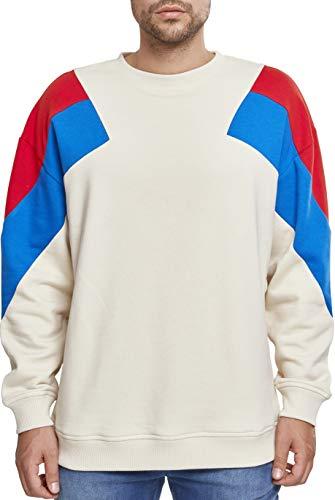 Urban Classics Herren Sweatshirt Oversize 3-Tone Crew Mehrfarbig (Sand/Firered/Brightblue 01457), S Classic Crew Fleece Sweatshirt
