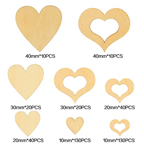 upain Wooden Hearts 3cm 4cm 2cm 1cm Wooden Hearts Embellishments for Crafting Wedding Home Decorations DIY 400 Pieces