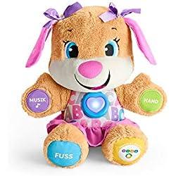 Fisher-Price FPP53 - Lernspaß Hundefreundin, Plüschtier und Lernspielzeug mit Liedern und Sätzen, mitwachsende Spielstufen, Baby Spielzeug ab 6 Monaten, deutschsprachig