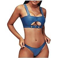 Sylar Trajes de Baño Bikini para Mujer Bañadores Brasileños de Natación Color Sólido Conjunto de Bikinis Push Up con Relleno Ropa de Baño 2 Piezas Sujetador con Botón Ropa de Playa