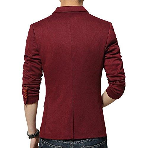 MRSMR Hommes Veston Costume Un Bouton Casual Blazer Vestes Décontraction Mariage et Animateur Rouge