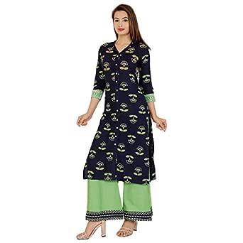 Manharee Women's Rayon Printed Kurta & Palazzo set