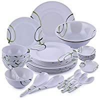 Royalford Melamine 35 pcs Melamine Ware Dinner Set, White, RF6973