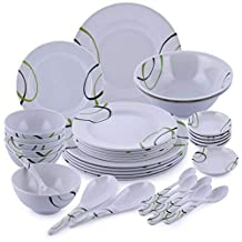 Royalford RF6973 35 Pieces Dinner Set, WhiteMelamine