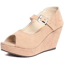 Feel It Women's Beige Wedges Sandal - 39
