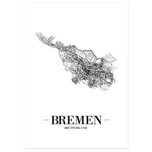 JUNIWORDS Stadtposter - Wähle Deine Stadt - Bremen - 60 x 90 cm - Schrift A - Weiß