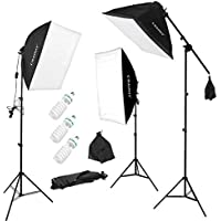 """CRAPHY Photo Studio Softbox Lighting Kit 3x135W, Photography Lights and Video Lighting with Boom Arm, 3 Auto Pop-Up Photography Studio Soft Boxes, 135W 5500K Light Bulbs, and 80"""" Light Stands"""