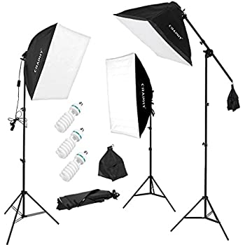"""CRAPHY Professional 3x135w Photo Studio Softbox Lights Continuous Lighting Kit with Boom Arm for Photography - 135W 5500K Bulbs + 20""""x 25""""Auto Pop-Up Softbox + 80"""" Light Stand"""