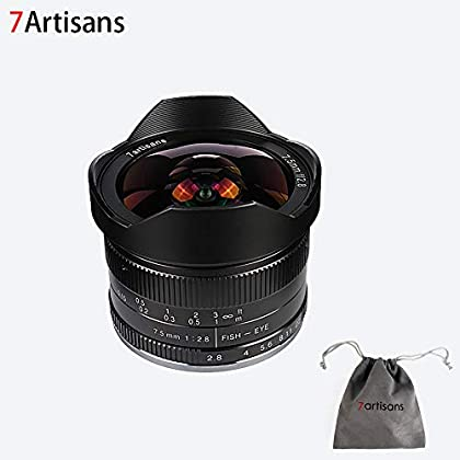 7artans F2.8 APS-C - Lente fija de 7,5 mm para cámaras Fujifilm Fuji como X-A1 X-A2 X-AT X-M1 XM2 X-T1 X-T2 X-T10 X-Pro1 X-E1 X-E2