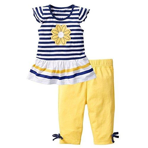 DAYAN Abbigliamento bambino Daisy Flower Stripe Shirt Top fiocco Pant