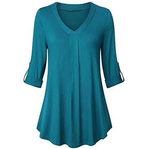 MEIbax Damen Langarm Solid Color Button beiläufige lose Tops Tunika Bluse Shirt Oberteile Pullover