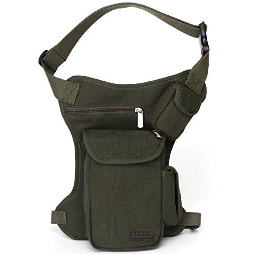 Eshow borsa da gamba marsupio cosciale da uomo di tela trekking escursioni sportivo soft air verde - Pelle Amici Cintura