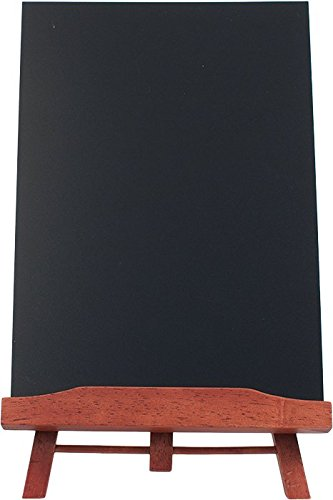 Securit Tisch-Staffelei mit Kreidetafel, A4, lackiert, mahagonifarben