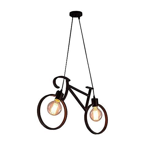Moderne Créatif Lustre en forme de vélo Cru Simple Pendentif 2 lumières Plafonnier, Noir