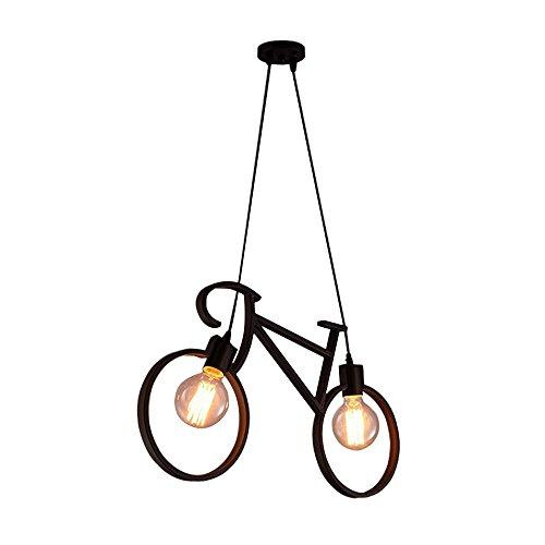 Simplemente Creativo bicicleta lámpara colgante Negro metal hierro lámpara de techo 2luces araña lámpara