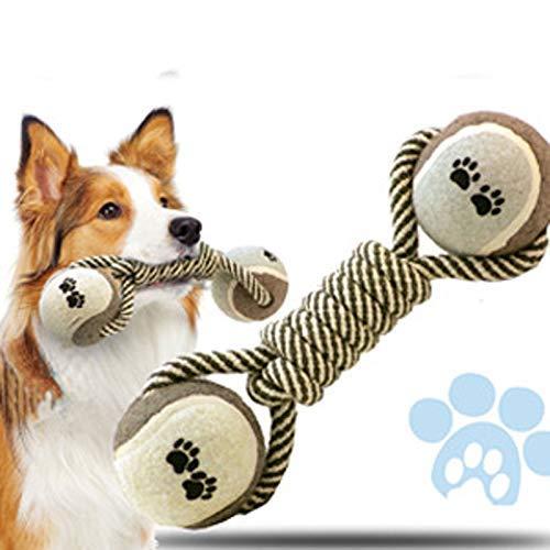 GBX Pet Indoor-und Outdoor-Produkte, Pet Tennis Baumwollseil Spielzeug, Hantel Haustier Knochen Seil Spielzeug, Haustier Reinigungswerkzeug Hundereiniger Kautraining Werkzeug, Tennis Knochenform Spie -
