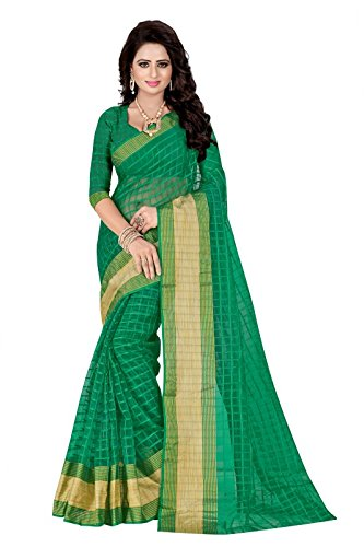 J B Fashion Women's Cotton Green Saree With Blouse Piece