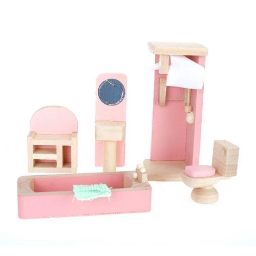 4 Set Dollhouse Furniture Kid Toy Bathroom Kid Room Bedroom Kitchen Set by Generic