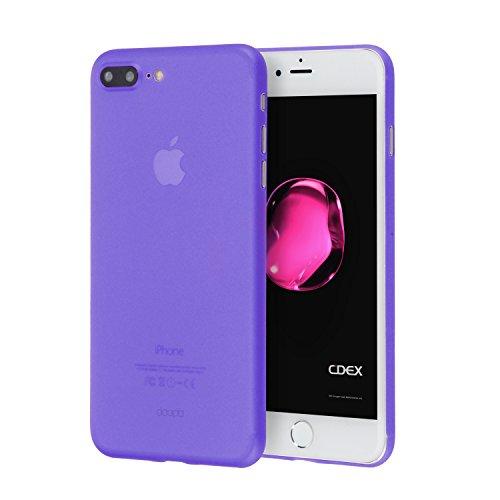 doupi UltraSlim Case iPhone 8 / 7 Plus ( 5,5 pouces ) [ Chargeur sans fil pris en charge ] fin mat ultra mince et ultra léger Bumper Cover Housse de Protection Shell Coque - noir Violet
