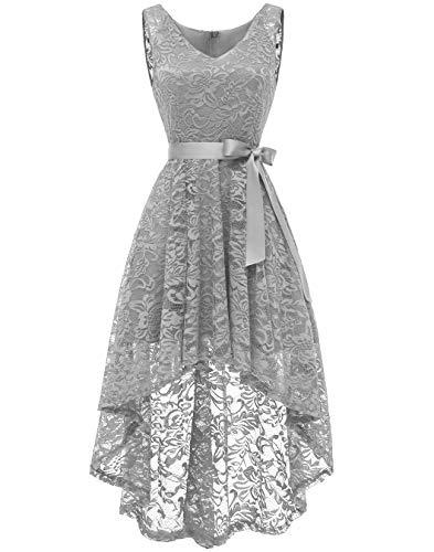 "Berylove BLP7018 Damen Cocktailkleid Spitzen V Ausschnitt Ã""rmellos Elegant Hi-Lo Partykleider Grau XS"